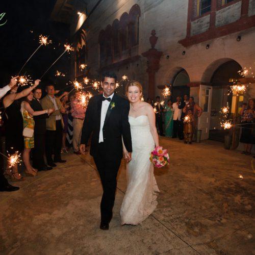 Grand wedding exit on the terrace of the Lightner Museum