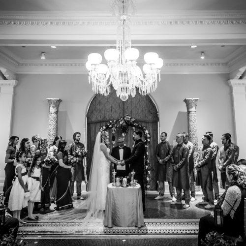 Intimate wedding ceremony in the Lightner Museum Grand Lobby
