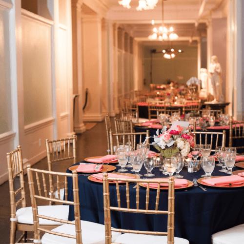 Wedding reception setup at the Lightner Museum