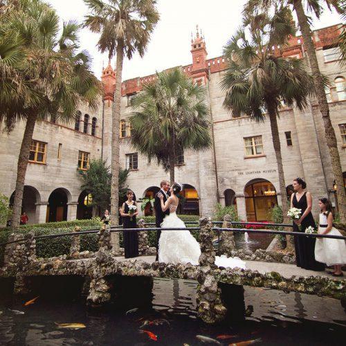Courtyard wedding in St. Augustine at the Lightner Museum
