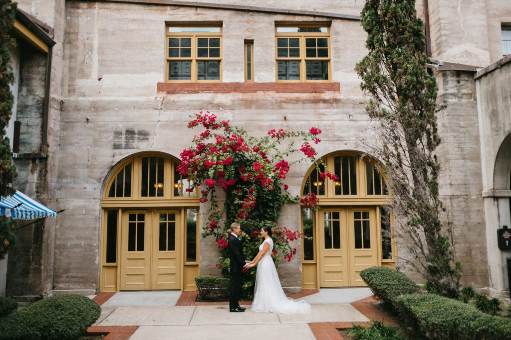 Bride and groom in the courtyard of the Lightner Museum