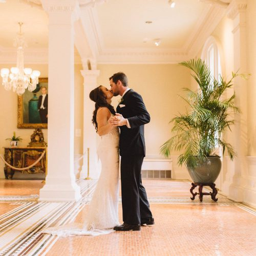 Wedding photos in Grand Lobby of the Lightner Museum