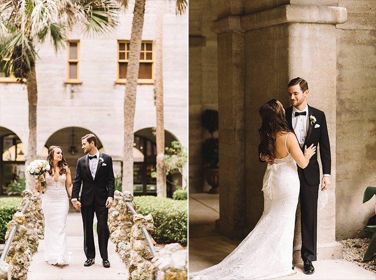Wedding portraits in the courtyard of the Lightner Museum