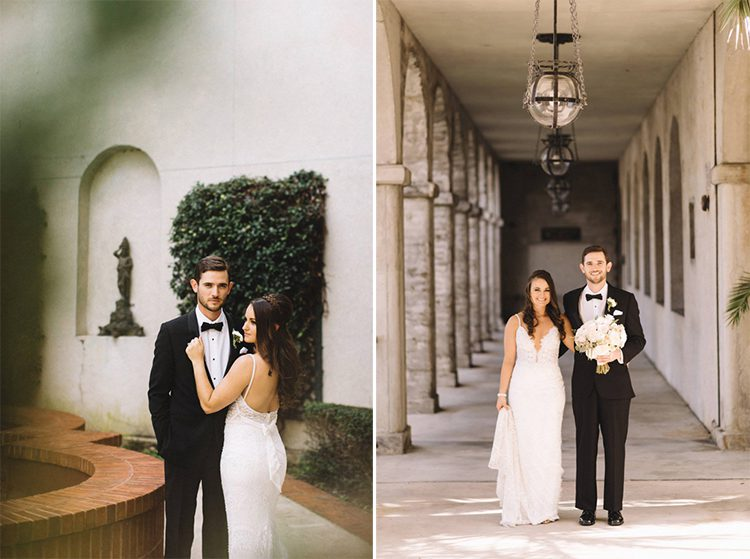 Wedding portraits in side courtyard of the Lightner Museum