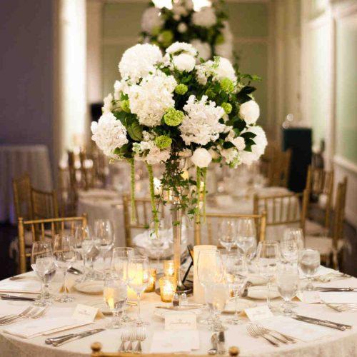 Wedding reception table setup at the Lightner Museum