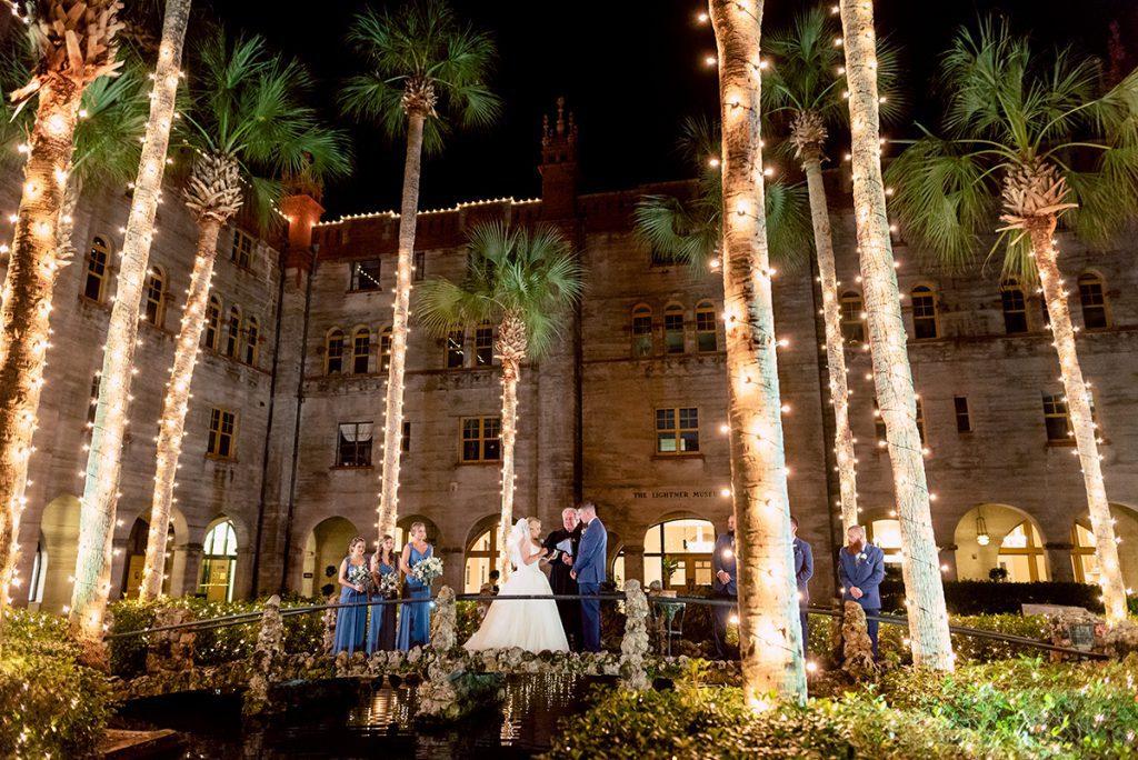 Courtyard Wedding Ceremony | Kayla & Jonathan's Winter Wedding in St. Augustine