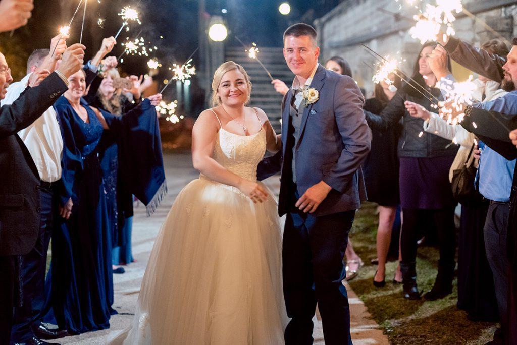 Wedding Sparkler Exit | Kayla & Jonathan's Winter Wedding in St. Augustine at the Lightner Museum