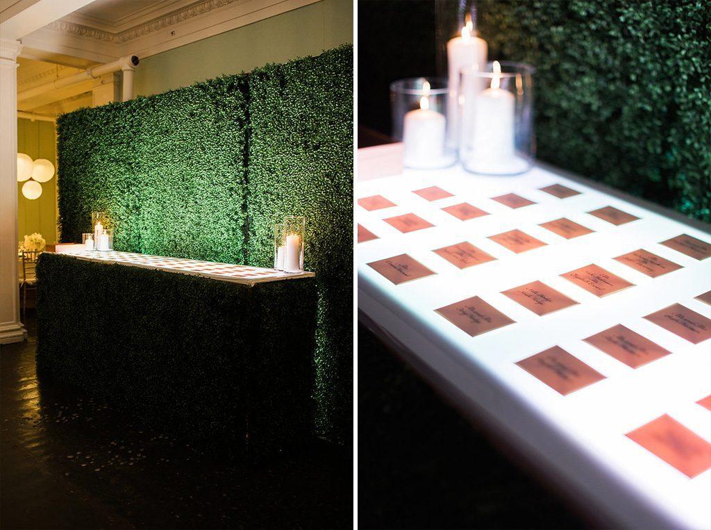 Place card table | Lightner Museum Wedding Reception | Vintage Modern Wedding in St. Augustine Florida