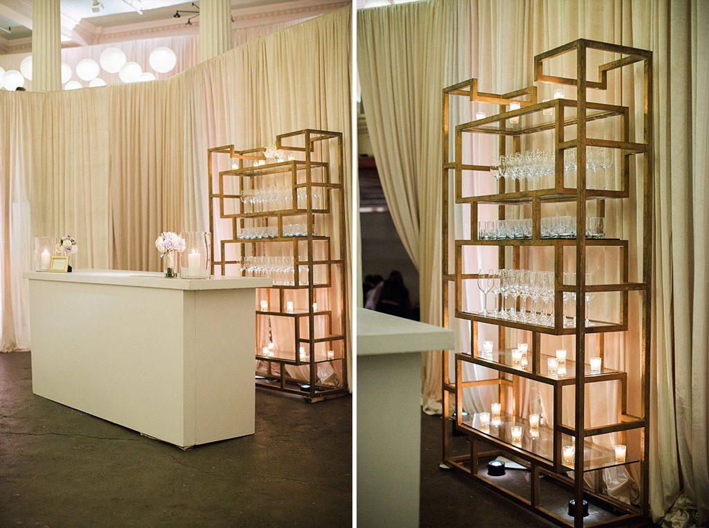 Bar Setup | Lightner Museum Wedding Reception | Vintage Modern Wedding in St. Augustine Florida