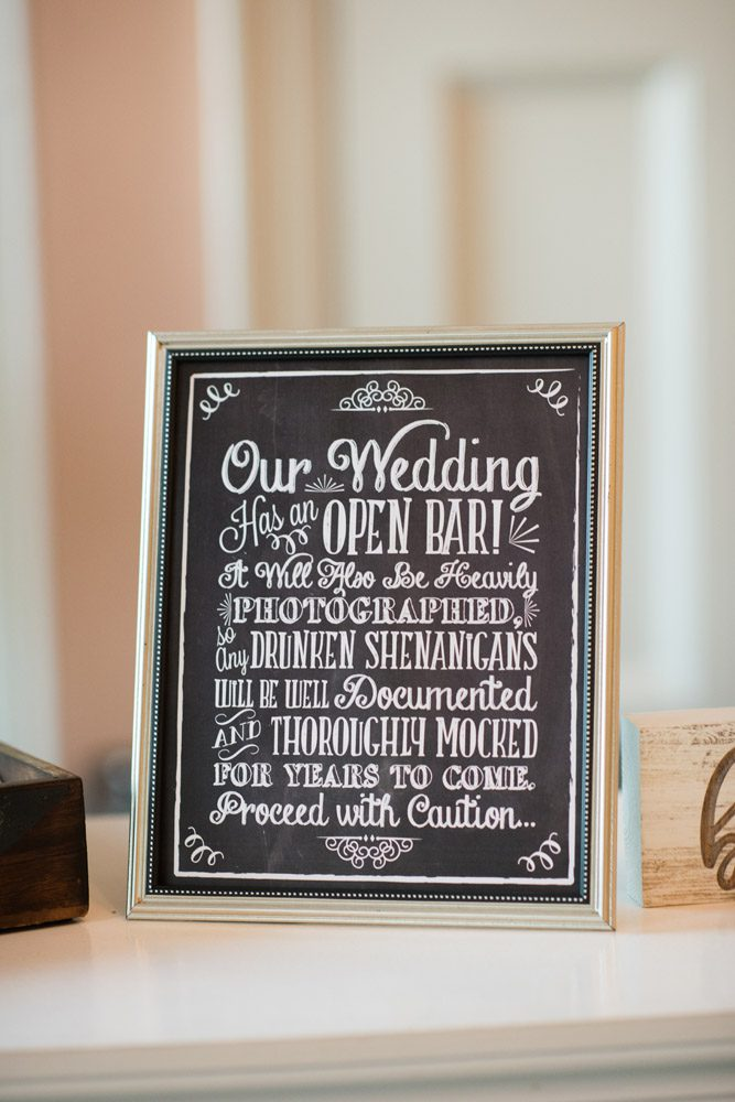 Our wedding has an open bar sign | Kristen and Mike | A Love Story Written in the Stars