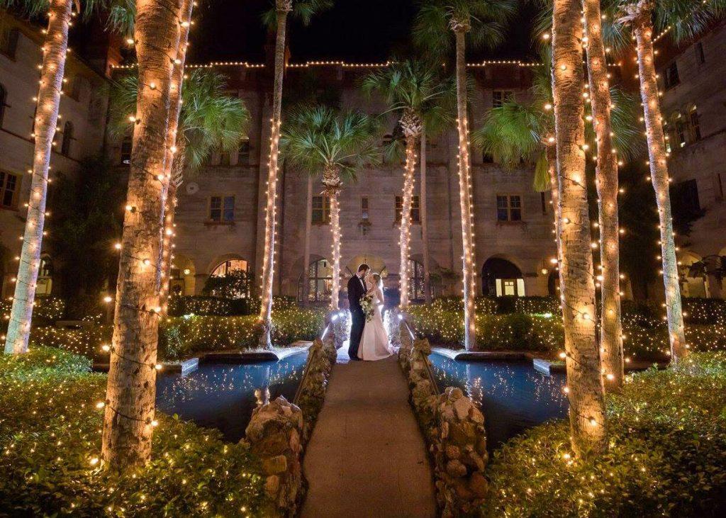 Bride and Groom Nights of Lights Wedding Photo