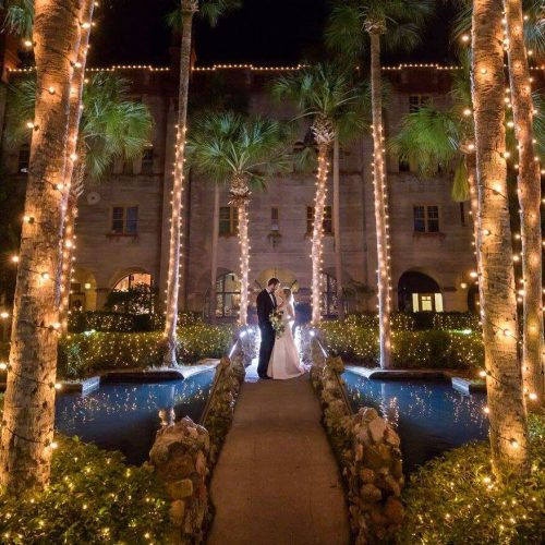Bride and Groom Nights of Lights Wedding Photo
