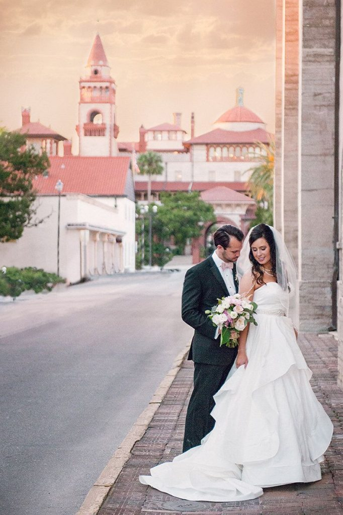 Bride and Groom pose for Bridal Portraits in St Augustine
