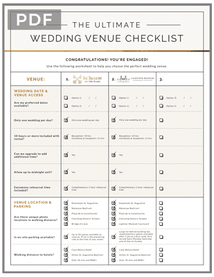Wedding Venue Comparison Checklist