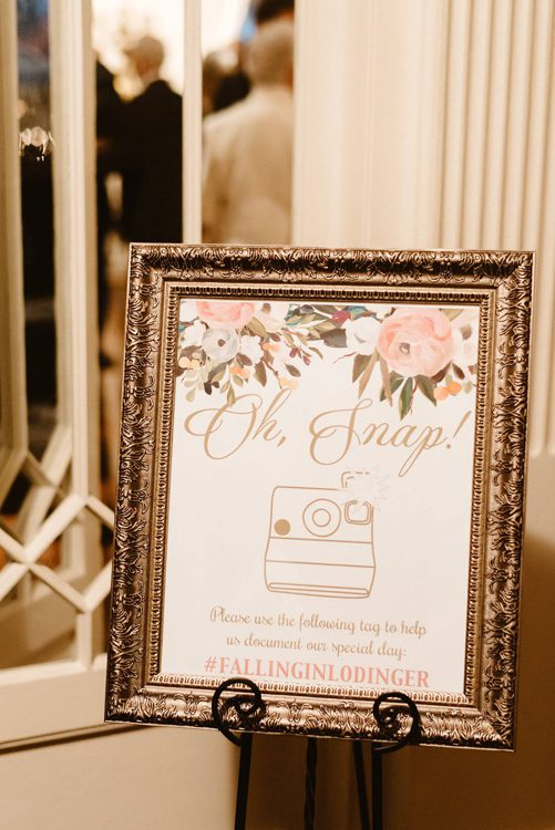 Wedding Hashtag Sign | Oh Snap| Lightner Museum St Augustine Florida Photo by Chris Glen Photography