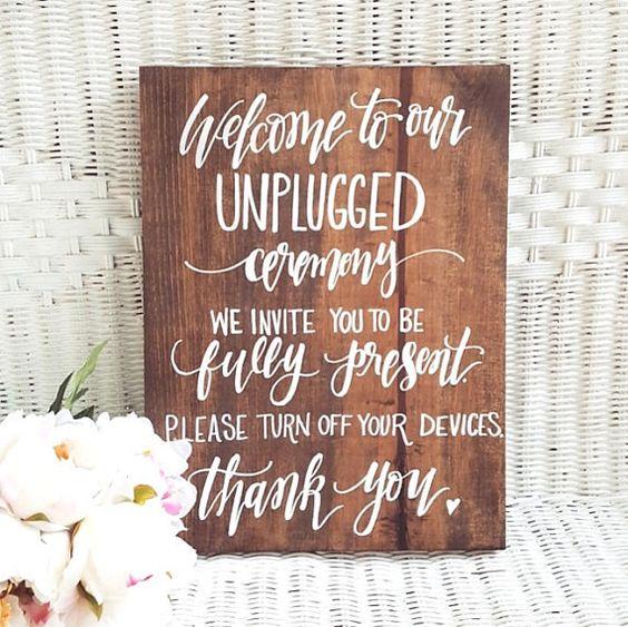 Unplugged Wedding Sign on Etsy   Wedding Social Media