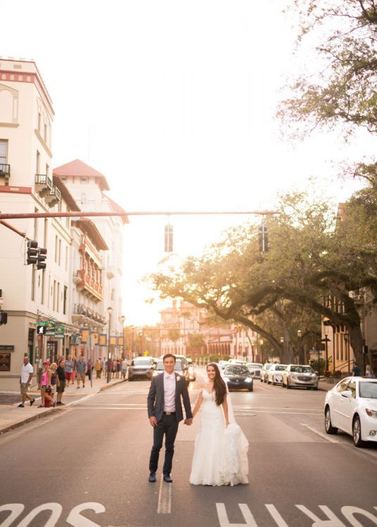 Bride and Groom wedding photos in downtown St Augustine Florida