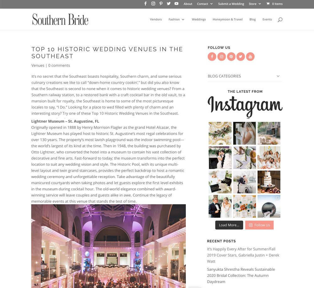 Top 10 Historic Wedding Venues in the Southeast | Lightner Museum | Southern Bride Article