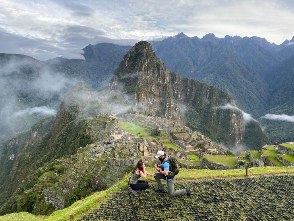 Proposal on top of Machu Picchu in Peru
