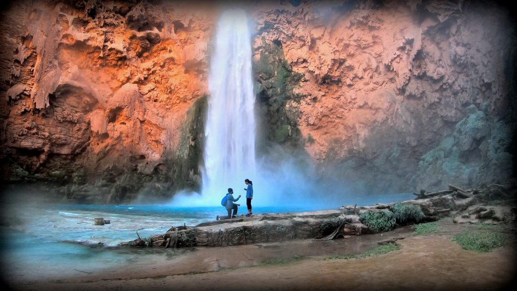 Tips for Engagement Ring Shopping | Proposal in front of Havasu Falls