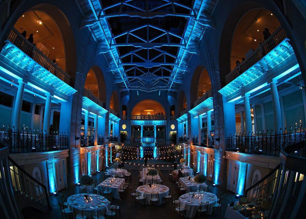 Gorgeous blue uplighting in the Lightner Museum